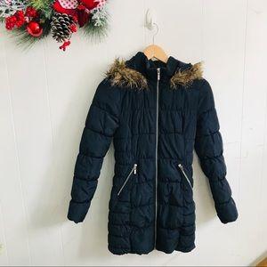 H&M Divided Navy Long Puffer Coat